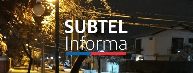 SUBTEL informa estado de redes de telecomunicaciones